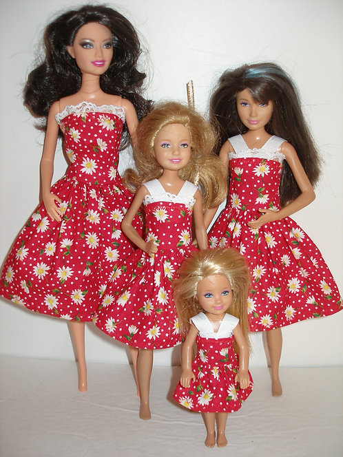 Red and White Daisy Sister Set