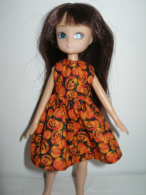 Lottie - Orange/Black Jack-O-Lantern Dress