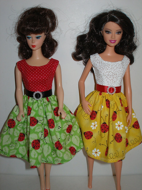 Lady Bugs Dress - Green/Red or Yellow/Red