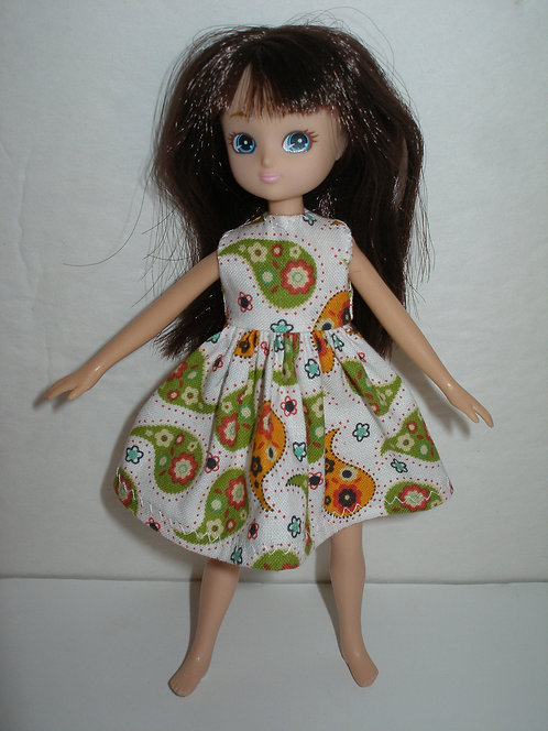 Lottie - White/Green/Orange Paisley Dress