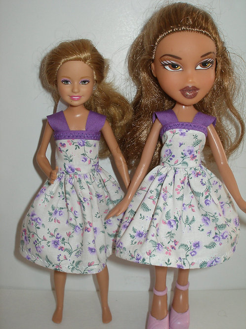 Stacie/Bratz White/purple floral dress