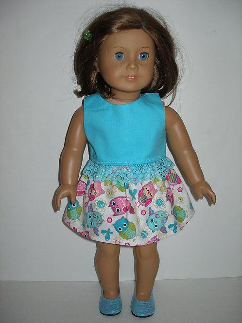 AG Blue/Pink/Green Owls Skirt Set
