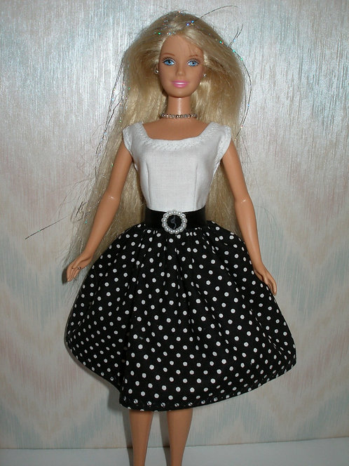 White w/Black and White Polka Dot