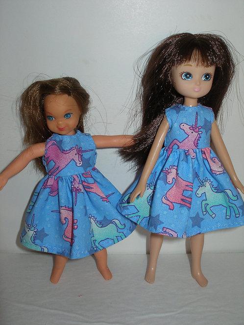 Lottie - Blue/Pink Unicorns Dress