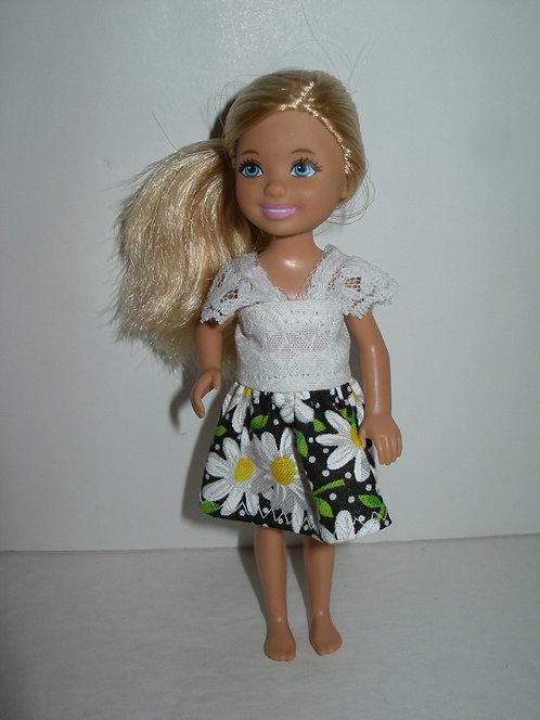 Chelsea - Blak & White Daisy Dress w/Lace