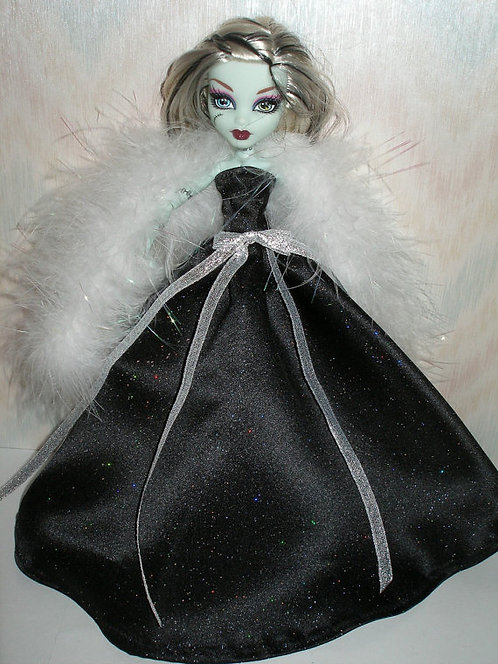 MH Black Glitter Satin Gown