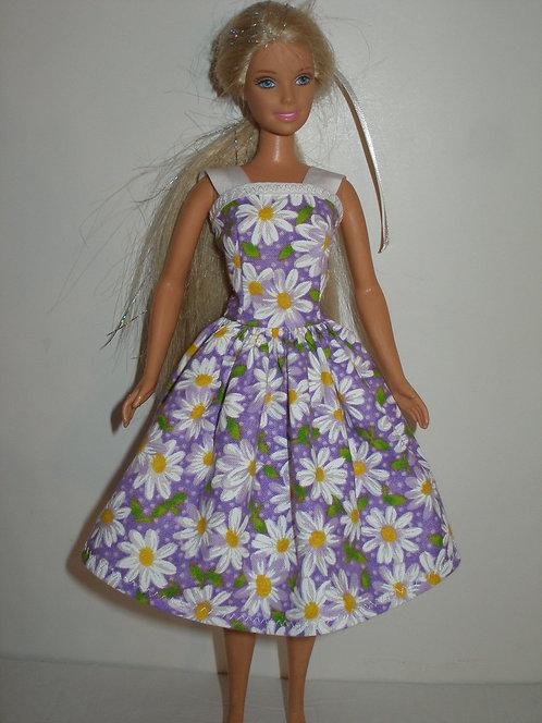Purple and White Daisy Dress w/straps