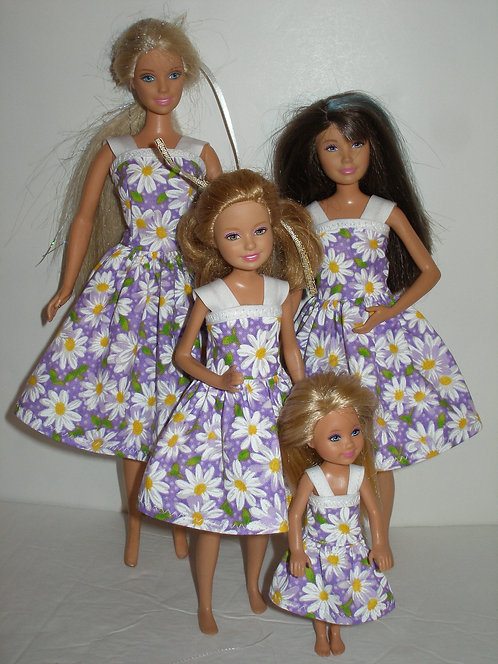 Purple and White Daisy Dresses Sister Set