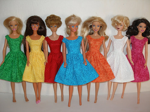 Solid Print Dress - Full Skirt - More Colors