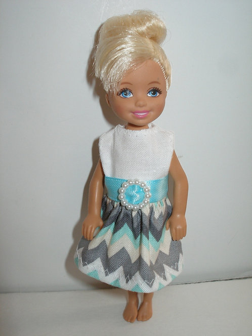 Chelsea - Aqua Chevron Dress