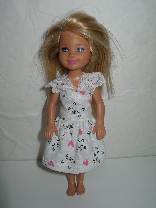White w/Kitty Face and Pink Hearts Dress