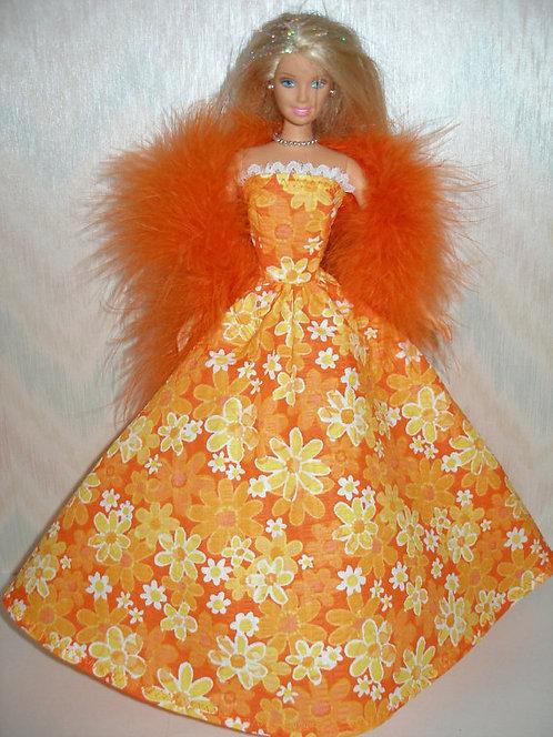 Orange Floral Gown