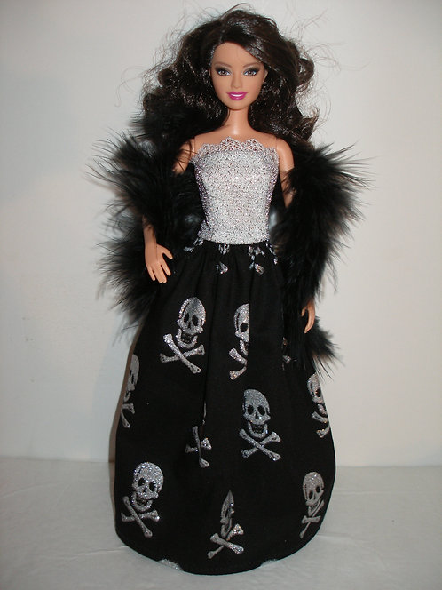 Black and Glittery Silver Skulls Gown w/Black Boa