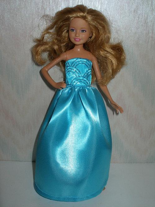 Stacie Aqua Satin Gown