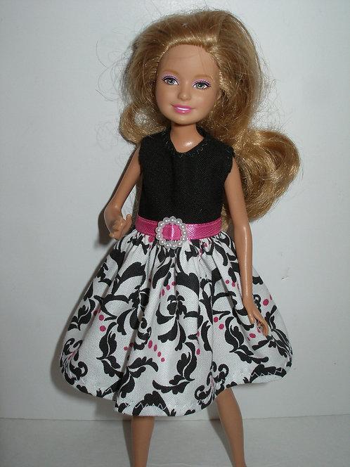 Stacie/Bratz White, Pink and Black Damask Dress