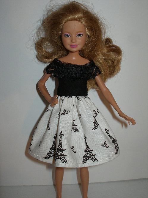 Stacie/Bratz Cream & Black Eiffel Tower Dress