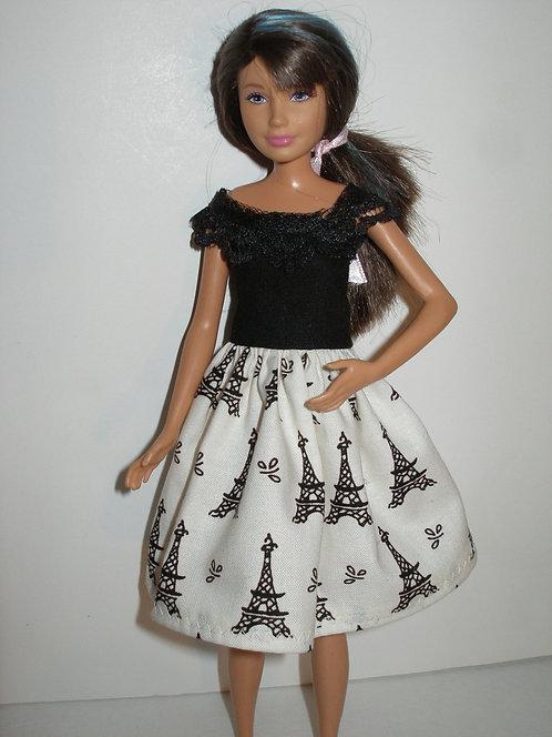 Skipper Cream & Black Eiffel Tower Dress