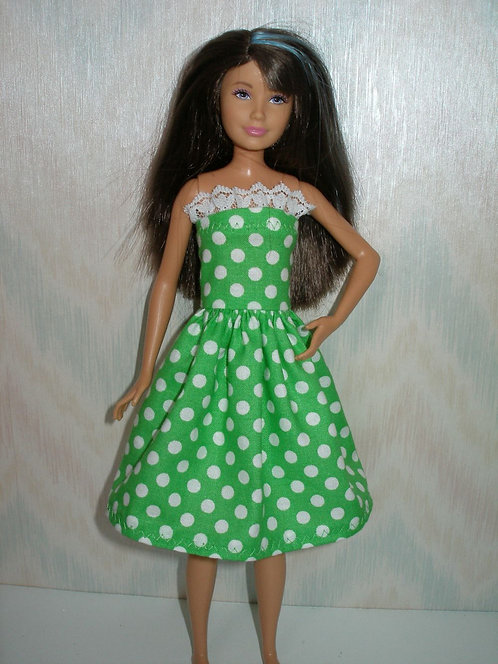 Skipper Green and White Polka Dot Dress