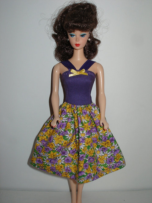 Purple and Yellow Floral Dress