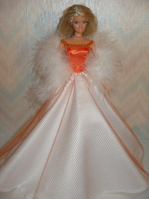 Orange and White Satin Gown