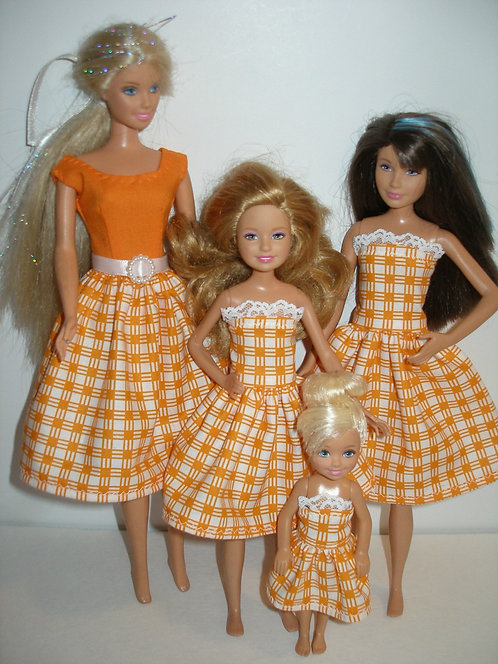 Orange and white plaid Sister Set