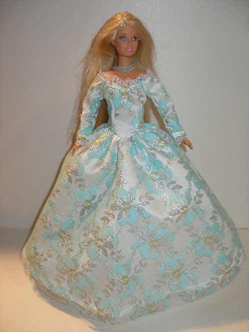 Aqua/Silver lace Gown