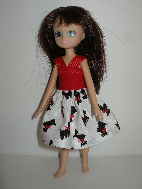 Lottie/Tutti - Red/White/Black Scottie Dog Dress