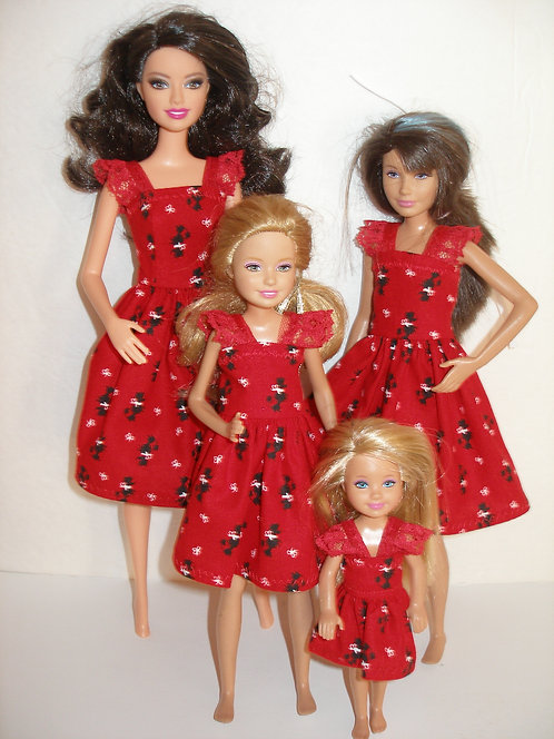 Red and Black Poodle Dresses - Sister Set