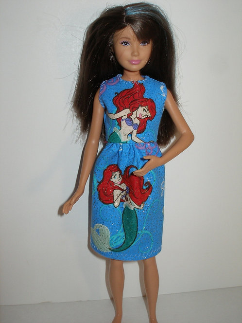 Skipper Glittery Blue Ariel Print Dress