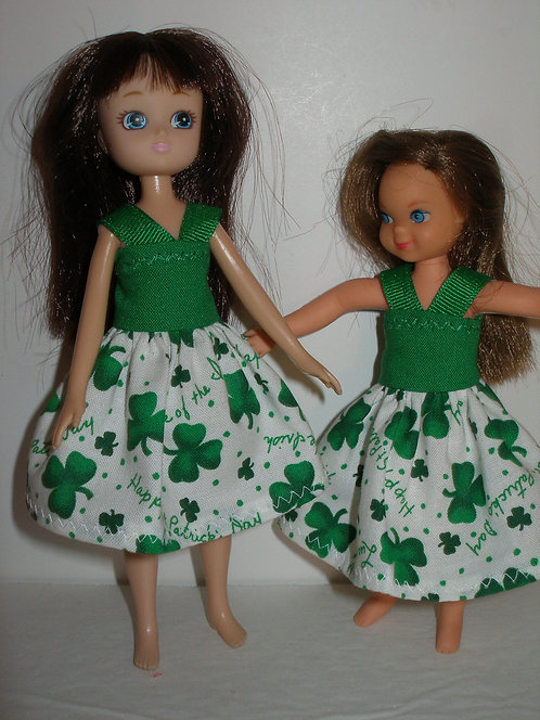 Lottie/Tutti - White and Green Shamrock Dress