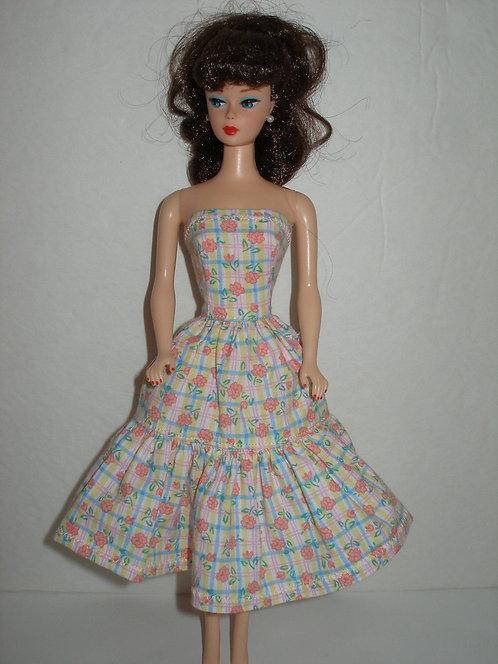 Pastel Plaid Floral Dress