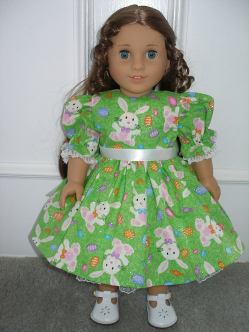 AG Green and White Bunnies Easter Dress