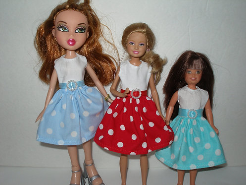 Stacie/Bratz white bodice polka dot dress