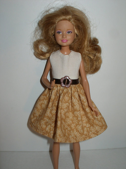 Stacie/Bratz Cream & Golden Fall Print Dress