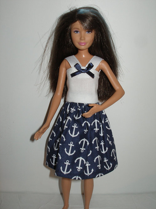 Skipper - Navy Blue and White Anchor Print Dress