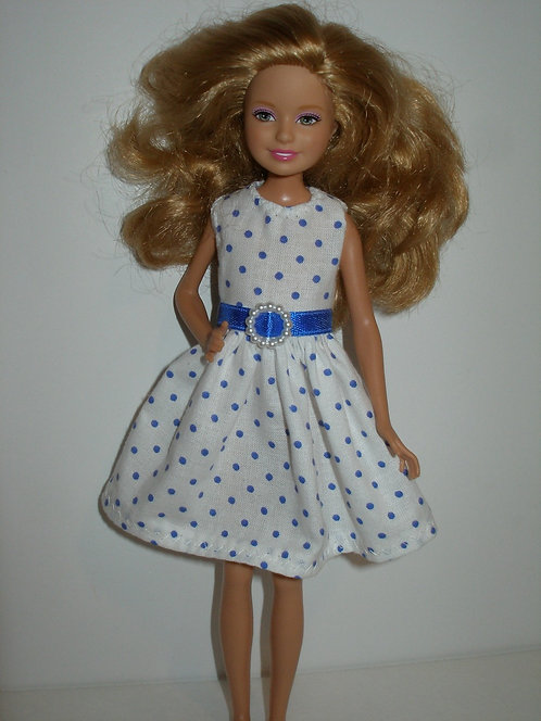 Stacie/Bratz White and Blue Polka Dot Dress