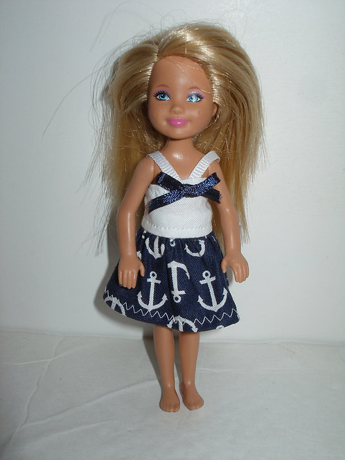 Chelsea - Navy and White Anchors Dress