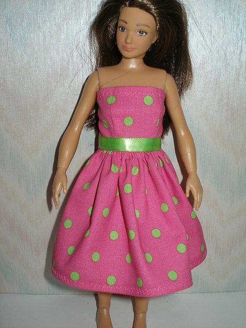 Lammily - Pink and Green Polka Dot Dress