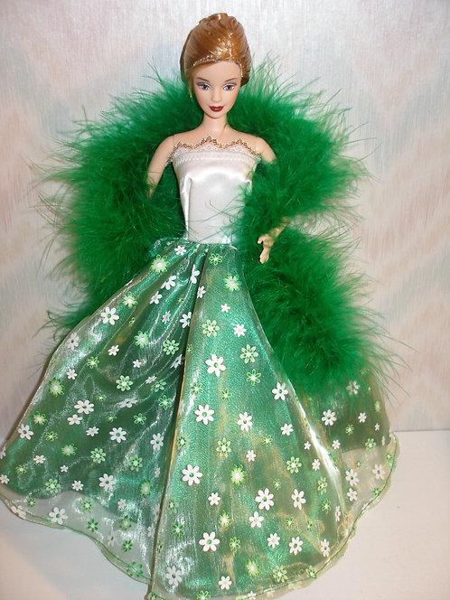 Green/White Satin and Organza Floral Gown w/boa