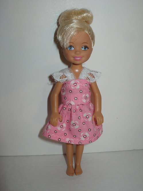 Chelsea - Pink & White Dress w/lace straps
