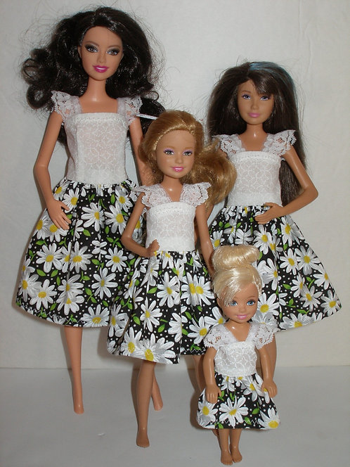 Black and White Daisy Sister Set