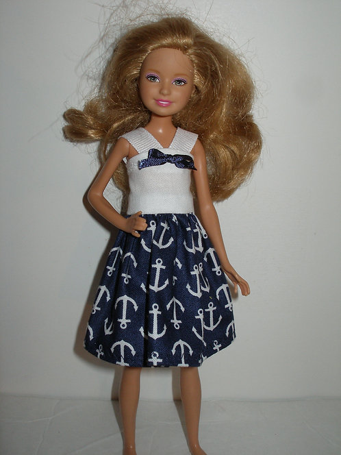 Stacie - Navy Blue and White Anchor Print Dress