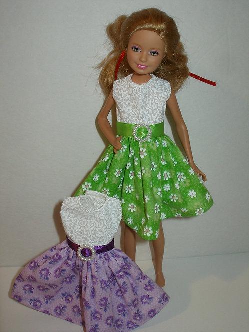 Stacie/Brats White Bodice w/Floral Skirt Dress