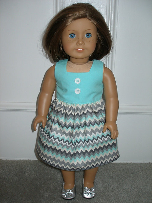 AG - Aqua Chevron Dress w/gray shoes