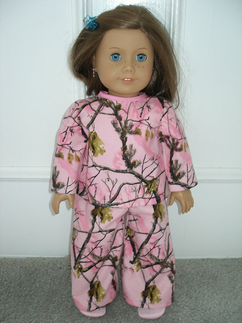 AG Pink and Brown Tree Flannel PJ's
