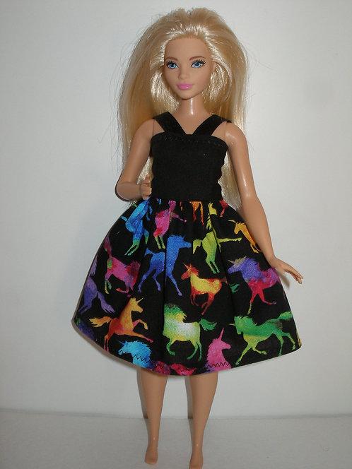 Black & Multi Colored Unicorns Dress