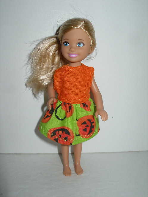 Chelsea - Green/Orange Jack-o-lantern Dress