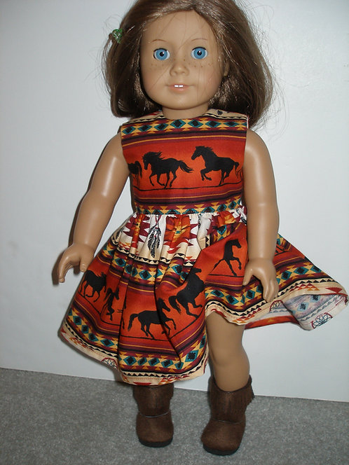 Burnt Orange and Black Horses Dress w/black boots