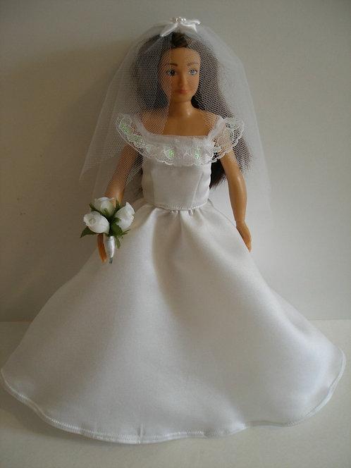 Lammily - White Satin Wedding Gown