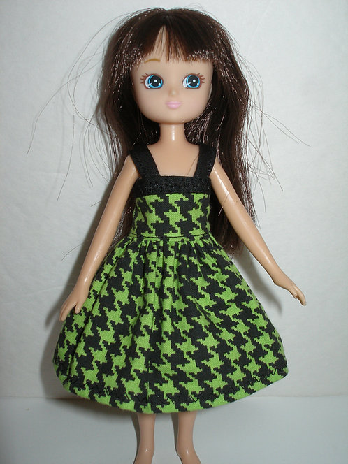 Lottie - Green and Black Houndstooth Dress